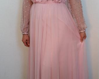 60s Pink Jack Bryan Dress. Chiffon Beaded Gown. Floor-length dress. Long sheer sleeves. Size Medium. Size 10.