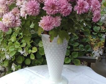 Vintage Hobnail White Milk Glass Vase