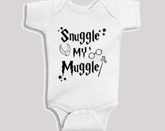 Snuggle my Muggle Harry Potter Baby Bodysuit onesie  clothes shower gift Newborn Infant Gryffindor Hufflepuff Slytherin niffler patronus