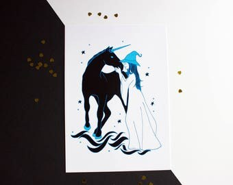 Witch's Familiar Print - Black/Dark Unicorn Art - Unicorn Kisses - Halloween Art Print - Beautiful Witch Art - Witch Home Decor - A5