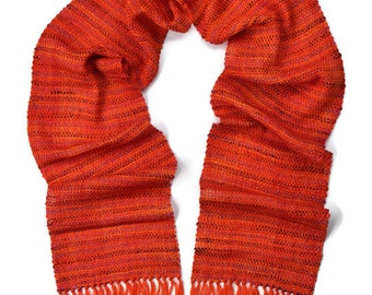 Silk Scarf - Beaded Scarf - Fringe Scarf - Orange Womens Scarf - Fall Scarf - Handwoven Scarf - Colorful Scarf - Winter Scarf - Her Scarf
