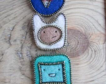 Adventure, cute pin, zipper, zipper pin,  jewelry, Peppermint Butler, cartoon pin, brooch, fabric brooch, Adventure time, cute idea