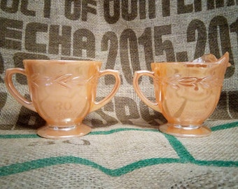 Fire King Sugar and Creamer Set - Laurel Leaf Peach Luster