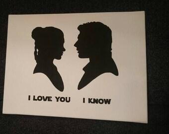 "Star Wars ""I love you - I know"" Princess Leia & Han Solo silhouettes wrapped canvas / Leinwand auf Keilrahmen"