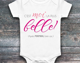 "Onesie for baby ""belongs to me the most beautiful! (after MOM, of course...) "", girl, pink, onesie, white garment, 4 sizes available"""
