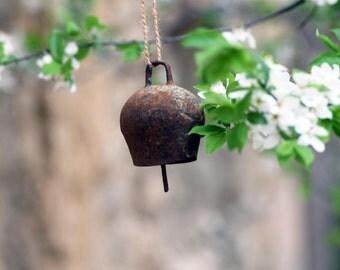 Antique cowbell, Vintage brass bell, Old rusty cowbell, Brass cowbell, Farmhouse bell, Collectible bell, Garden decor, Gift idea