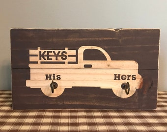 His and Hers Key Holder, Key Organizer, Key Hooks, Rustic Key Hanger, Pick Up Truck Key Rack, Country Home Decor, Farmhouse Decor, New Home