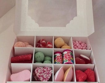 Selection of 16 different scrumptious pick and mix sweets in boxes. Pre filled ideal party bags, thank you gifts or wedding