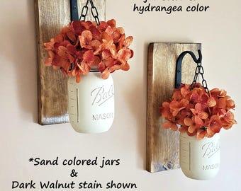 Mason Jar Hanging Wall Sconces, Farmhouse Decor, Reclaimed Wood Sconces, Country Decor, SET OF 2 Hanging Sconces, Rustic Home Decor