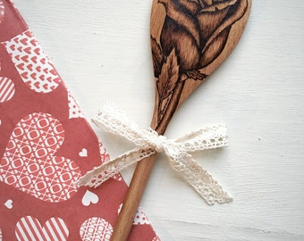 Long Stem Rose Wood Spoon, Wood Burned by Hand, Makes a Lovely Handmade Gift for Girlfriend, Wife, Mom, Women, Foodie Gift