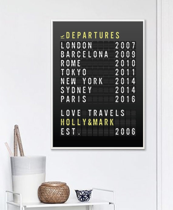 Wedding Gift, Travel Gift for Couple, Custom Art Print Travel ...