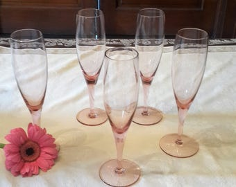 Pink champagne Flutes set of 5