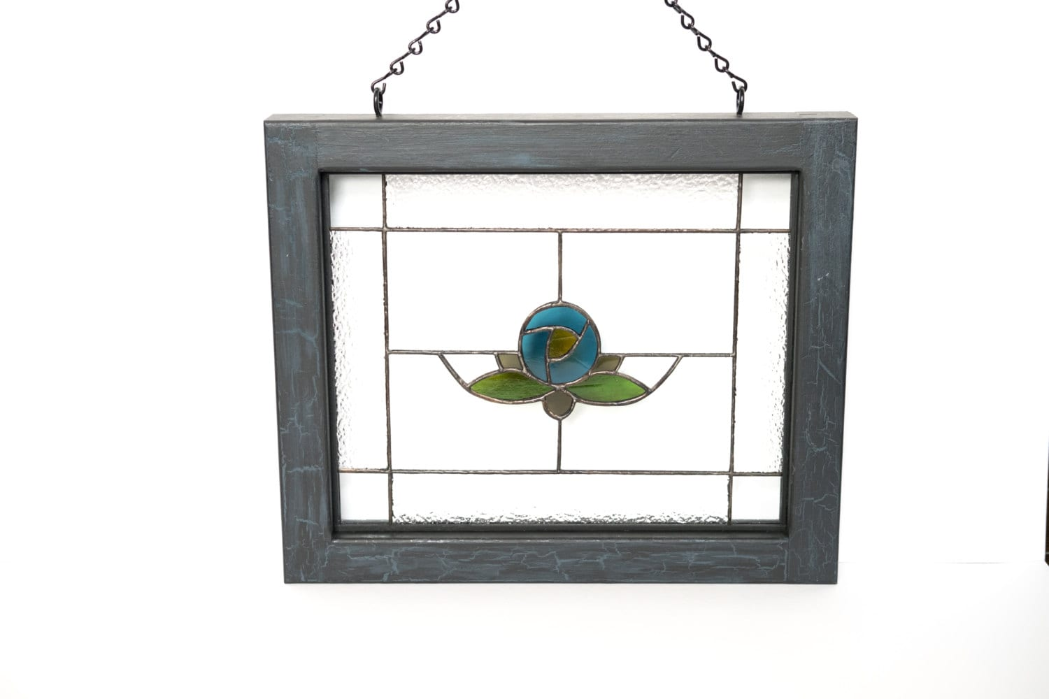 stained glass panel with wood frame