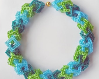 Geometric necklace in shades of green and blue