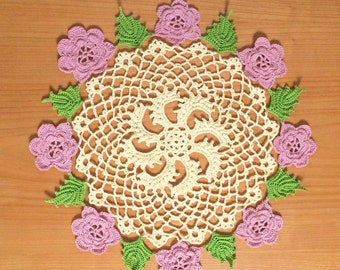 Flower doily - table decor doily - lace table mat - placemat - wedding decor doily - crochet doily - crochet lace doily - table decoration