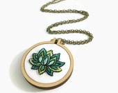 """Embroidery Art Necklace - Lotus Blossom in Mini 2"""" Hoop, Bold Greens, Long Necklace, Hand Dyed Yarn Stitched by Creatiate"""
