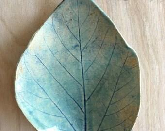 Blue Ceramic Leaf Dish - Soap Dish - Spoon Rest - Candle Holder