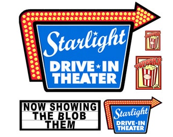 1:87 HO scale model Drive-In Movie Signs