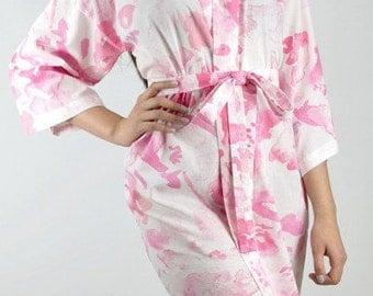 RUN OUT SALE Size Small - Peony Pink Kimono Bridesmaid Robe - Watercolour Dressing Robe