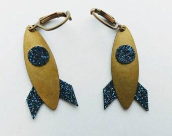 Rocket sleepers rocket glitter earrings