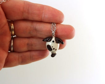 Miniature porcelain spotted dog pendant, black white doggy necklace chain, tiny cute clay spotted doggy charm, ready to ship