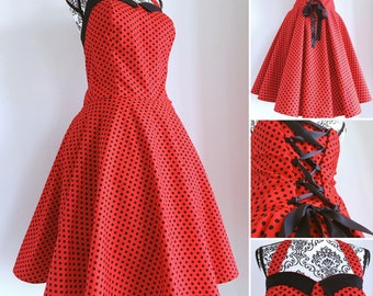 Pin up dress - rockabilly dress polka dots red & black sweetheart neckline- swing dress - sizes XS to 5XL