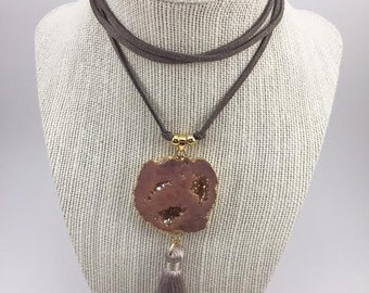 Peach Druzy Geode with Tassel Suede Wrap Choker Necklace