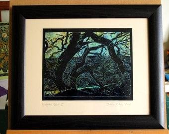 Wistman's Wood 2,  Dartmoor, woodland, sillhouette, bare trees, linoprint,