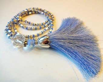 Tassel Necklace / Bead Necklace / Glass Necklace / Elegant Necklace / Silver Necklace / Light Blue Necklace / Glass Bead Necklace