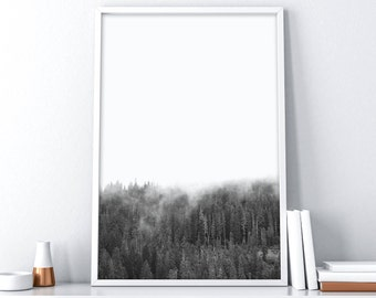 Forest Printable Art| Printable Forest Art| Tree Wall Decal| Woodland Wall Decal| Snowy Mountains| Minimalist Poster| Scandinavian Print