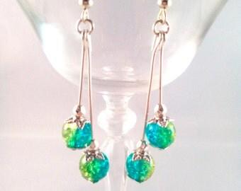 'Elegant green - blue' Silver earrings