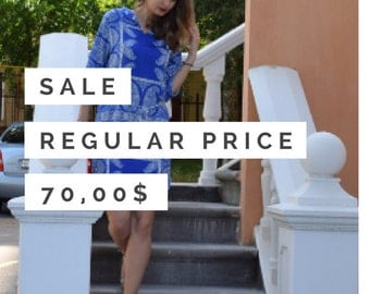 SALE Blue tunic with white paisley pattern