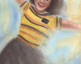 Spinning Joy -  sister missionary | watercolor print | 5x7, 8x10, 11x14 | Original design | lds art | Protestant Art |