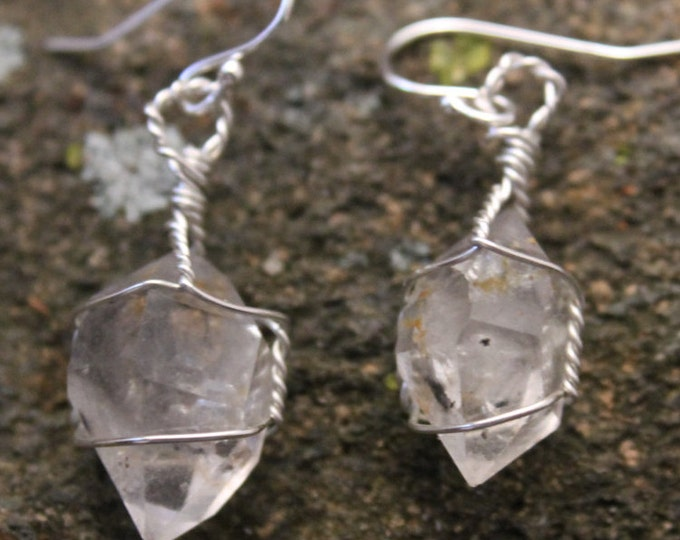 Double Terminated Herkimer Diamond Quartz Crystal Earrings with Sterling Silver Wire Wrap, Raw Mineral, Mined in New York State by Me
