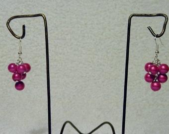 Cute Handmade Shocking Pink Illusion Bead Bobble Earrings