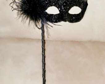 Stick Mask / Venetian eye feather mask