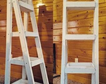 Narrow Ladder Shelf, Ladder Shelf,  Wood Shelf,  Bookshelf,  Wood Display Shelf, Painter's Ladder Shelf