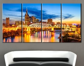 Nashville city canvas, Nashville print, Canvases, Canvas, Wall decor, Home decor, Stretched, Canvas art, Extra Large Wall Art, Large canvas