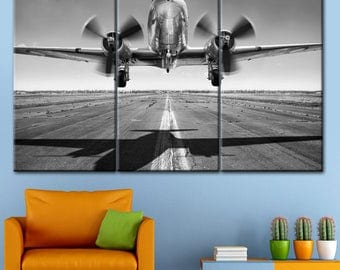 Aircraft, Takeoff Canvas, Wall Art, Print on Canvas, Wall Home Office, Decor Interior, Multi Panel Art,  Home Decor, black and white