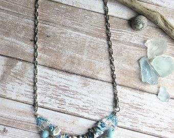 multi strand necklace - vintage inspired porcelain necklace for summer-CO352