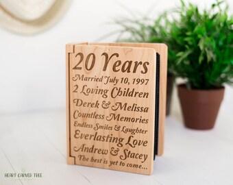 Anniversary Gift, Personalized Wood Photo Album, Engraved Gifts, 20th Anniversary, Wood Anniversary, Wood Engraved Anniversary, 10 Years PA7