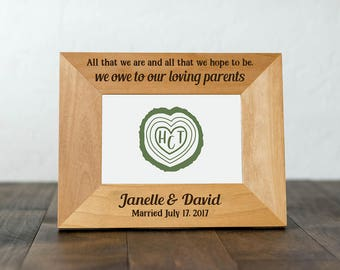 Personalized Parent Wedding Gifts, Picture Frame for Wedding Photo, Gift for Mom on Wedding Day, All That We Are and All That Hope to Be