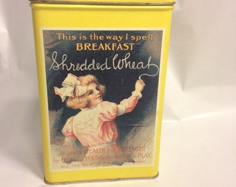 1992 Vintage Tin Nabisco Shredded Wheat Advertising Bristol Ware Canister