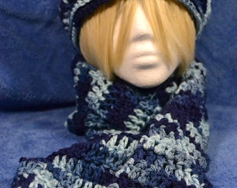 Multicolor Hat and Scarf Set: Shades of Blue