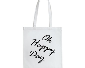Oh happy day tote bag, Wedding Tote, cotton bag , Bridal shower , bride , Mother of the bride , mother of the groom , Personalized tote