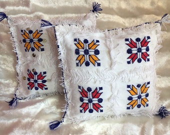 White Traditional moroccan berber cushion covers (set of 2)
