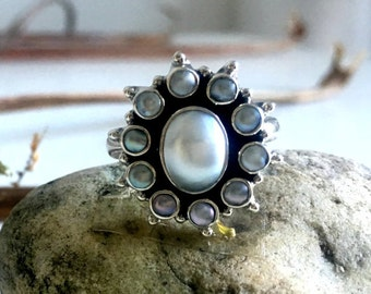 Pearl silver ring,Flower ring,statement ring,adjustable ring,bridesmaid jewelery,boho ring,sterling silver ring,handmade ring,gift for woman