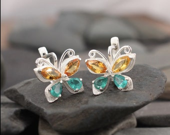 Sterling silver earrings Butterflies with emerald and yellow sapphire