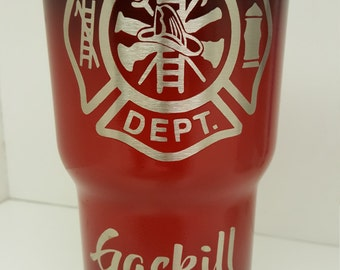 Custom Powder Coated Fireman tumbler