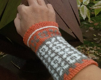 "Arm warmers, wrist warmers ""Retro"" fair isle"